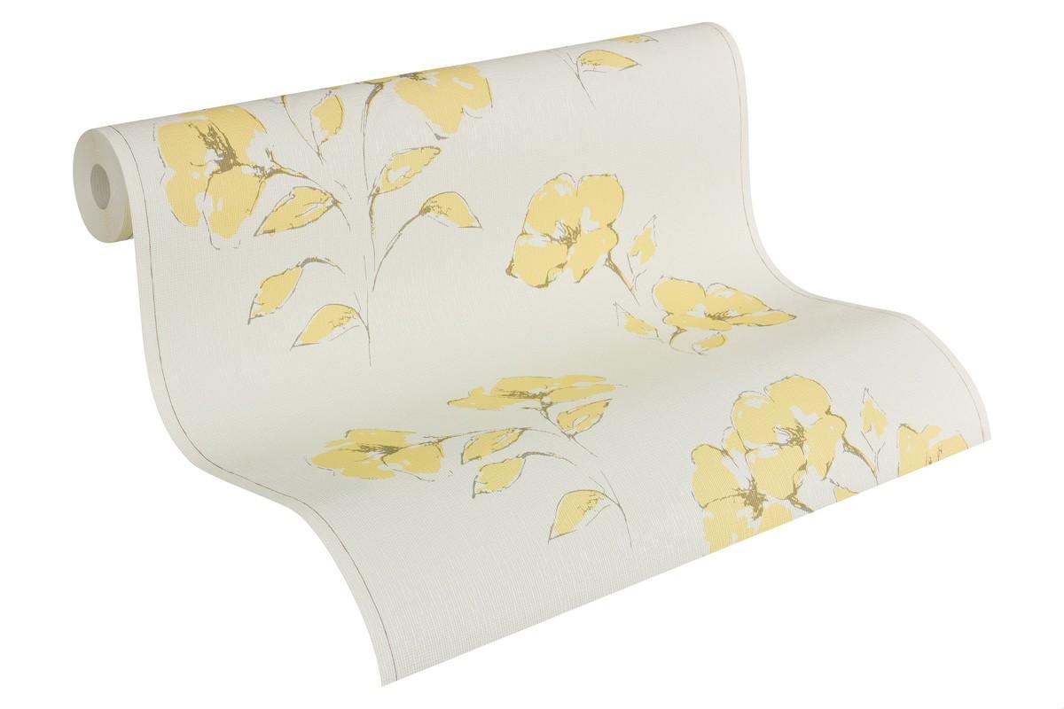 Vliestapete Weiß Gelb Blumen AS Creation 957504