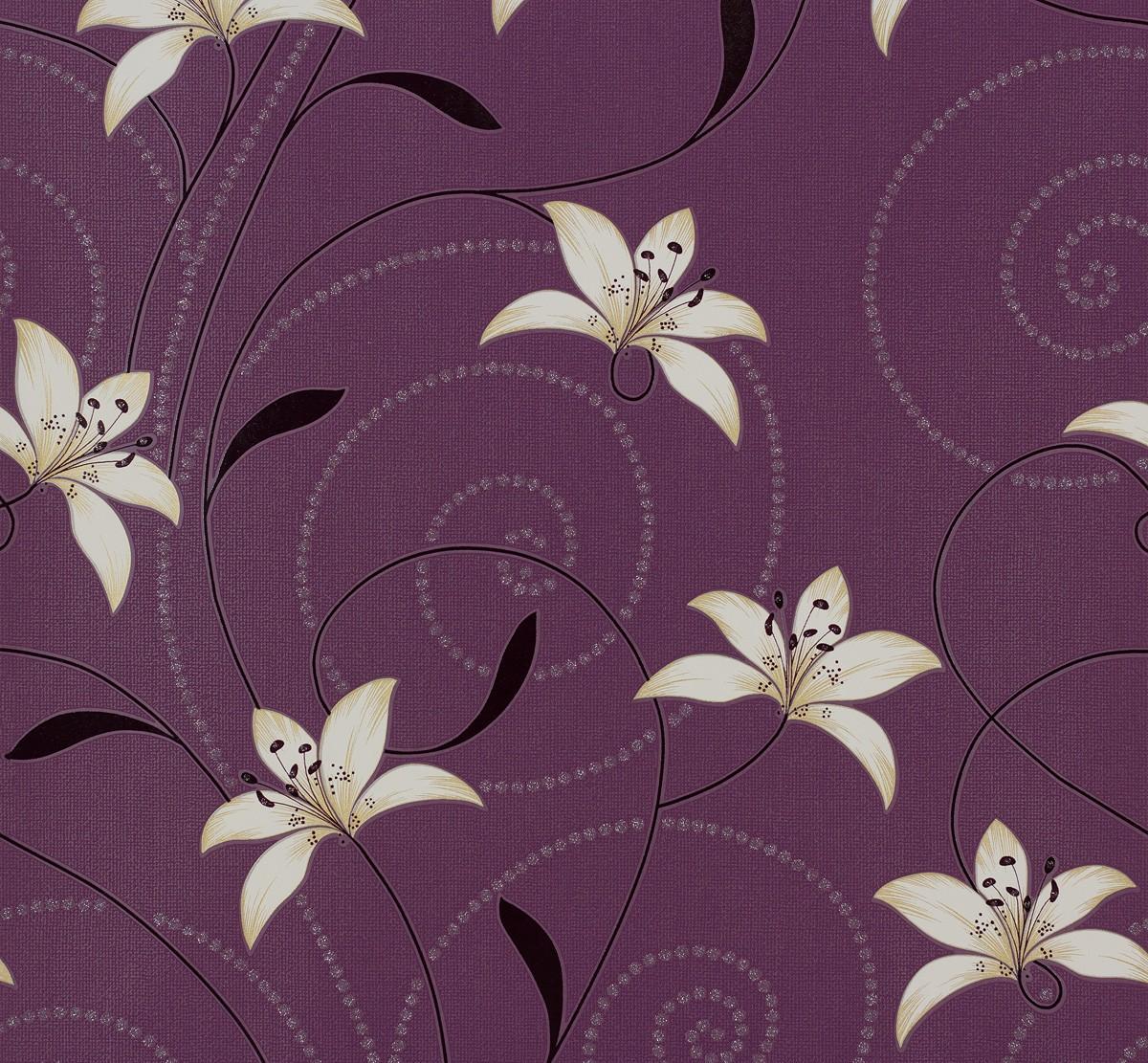 tapete blumen lila creme tapeten livingwalls atlanta 95700 5 957005 2 50 1qm ebay. Black Bedroom Furniture Sets. Home Design Ideas