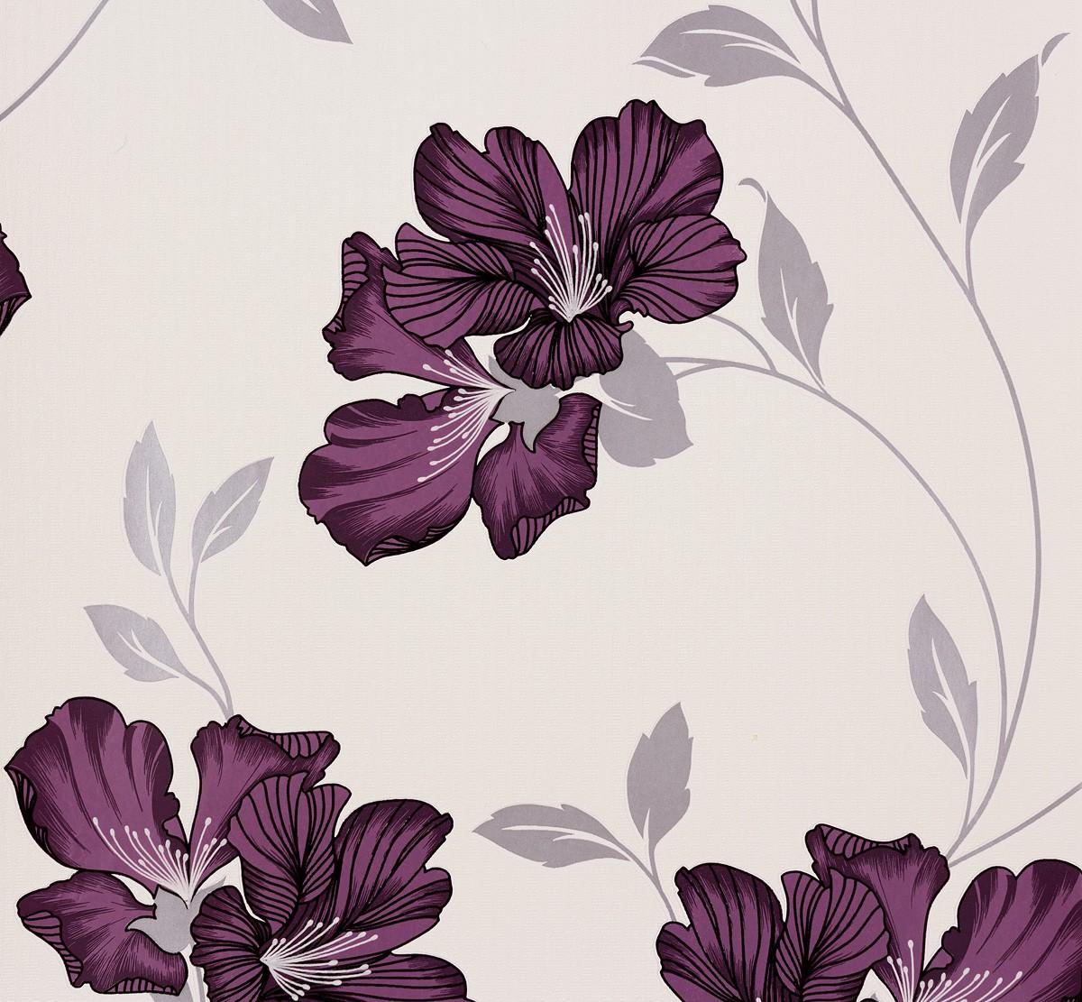 tapete lila silber blumen atlanta livingwalls 944292. Black Bedroom Furniture Sets. Home Design Ideas