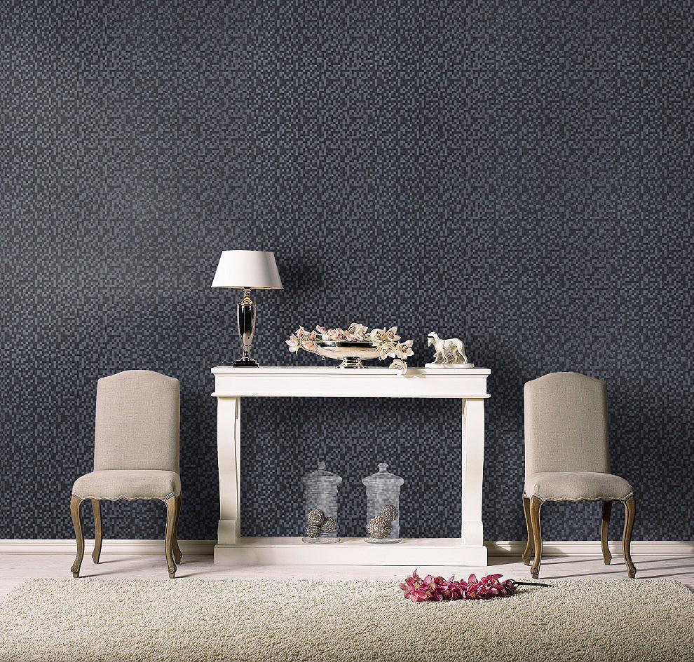 vliestapete grau silber kariert rasch 744866. Black Bedroom Furniture Sets. Home Design Ideas