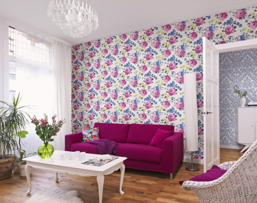 tapete rasch florentine blumen creme bunt 448825. Black Bedroom Furniture Sets. Home Design Ideas