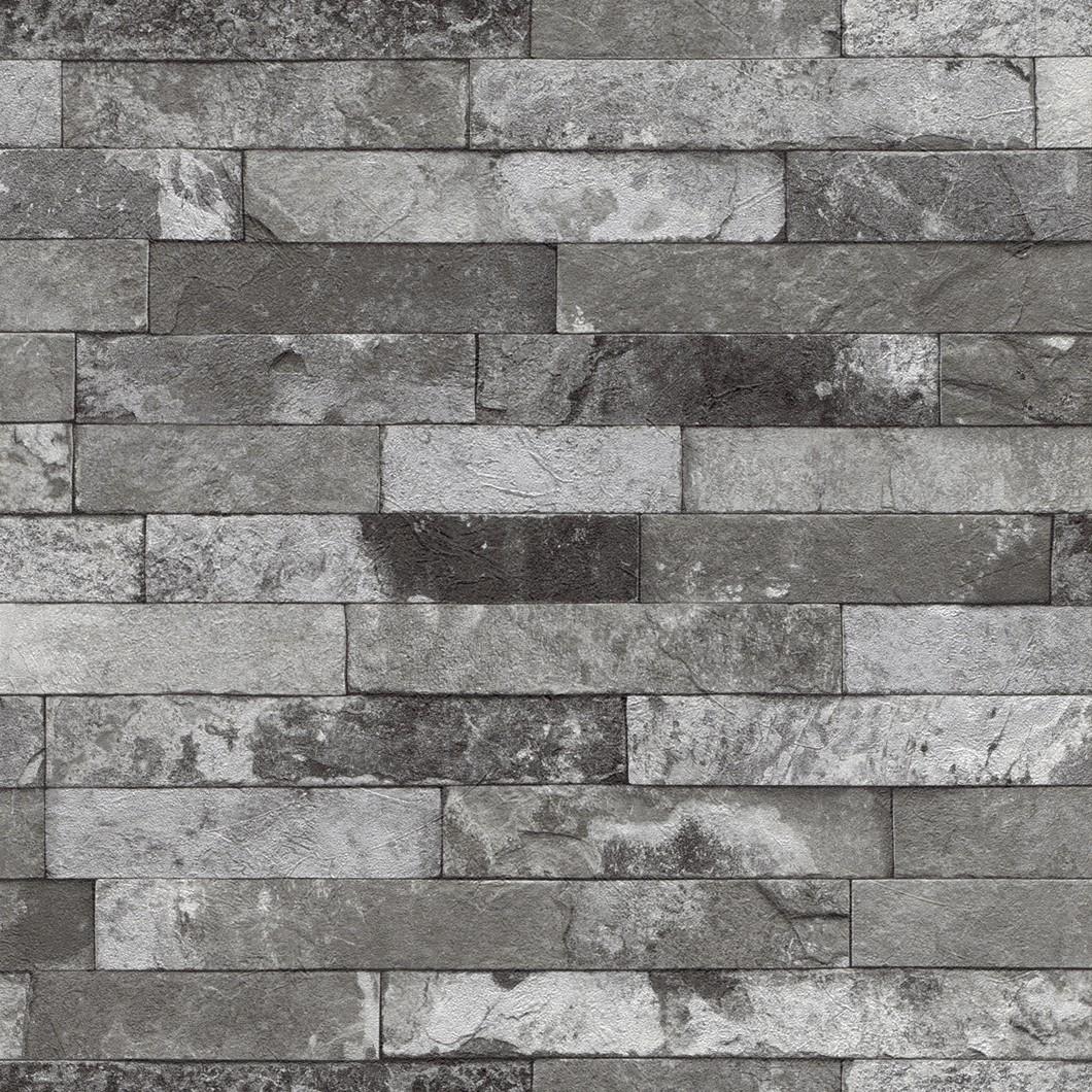 Vliestapete stein grau schwarz factory rasch 475135 for Graue klebefolie