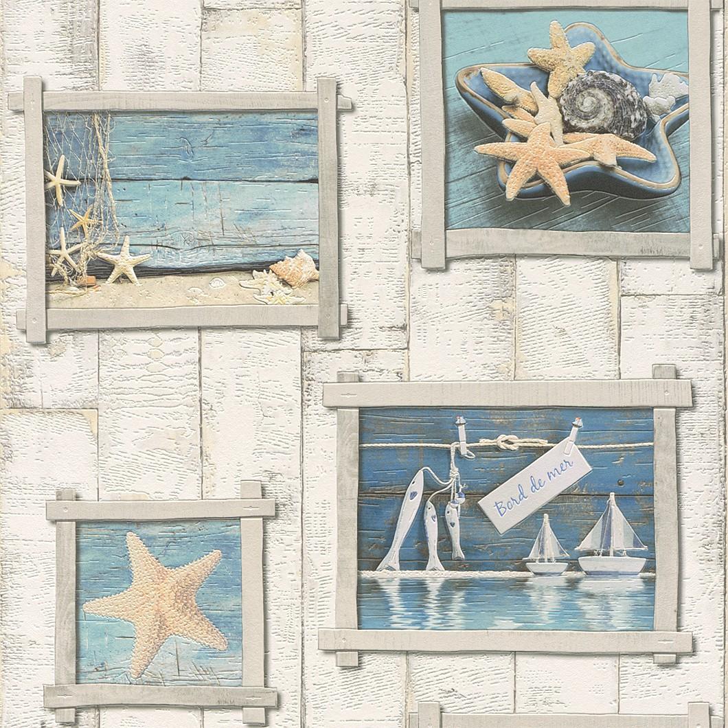 tapete creme blau holz aqua relief rasch 854107. Black Bedroom Furniture Sets. Home Design Ideas