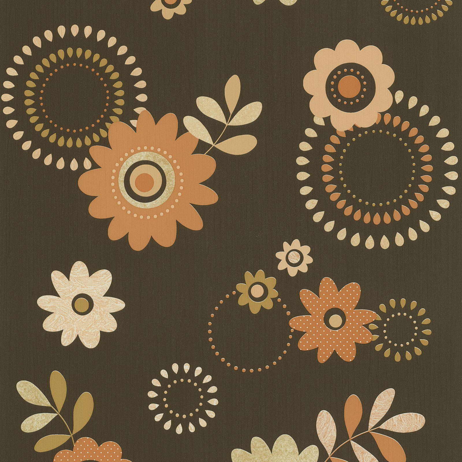 tapete braun orange blumen p s 05560 30. Black Bedroom Furniture Sets. Home Design Ideas
