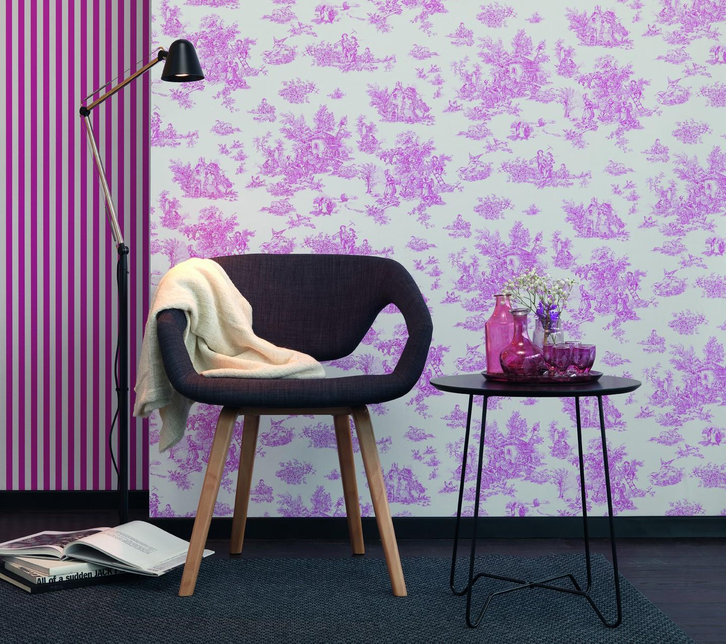 tapete pink wei streifen petite fleur rasch 285429. Black Bedroom Furniture Sets. Home Design Ideas