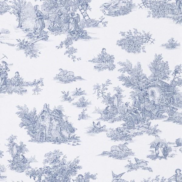 Tapete blau wei landhaus rasch 285078 for Tapete muster blau