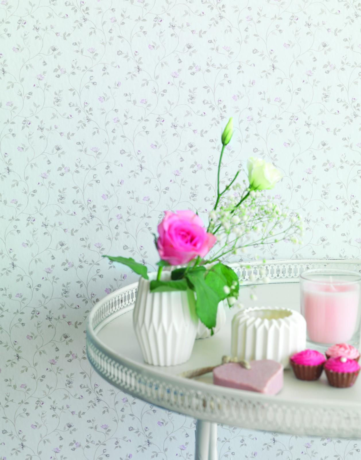 tapete grau blau blumen petite fleur rasch 285290. Black Bedroom Furniture Sets. Home Design Ideas