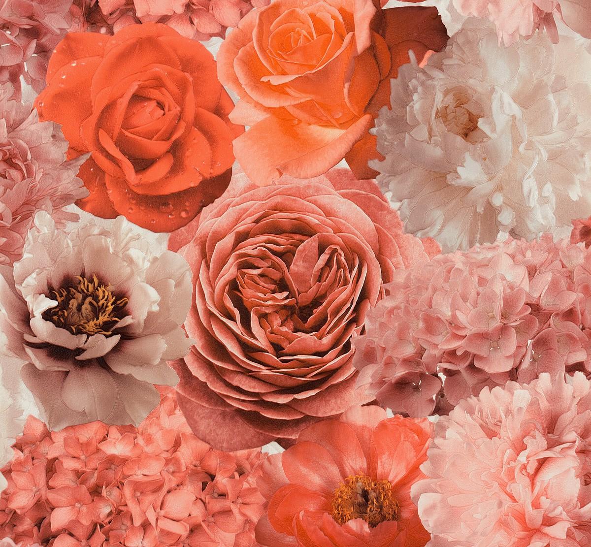 tapete design floral rot orange creme tapete rasch aqua relief 4 855807 4 46 1 ebay. Black Bedroom Furniture Sets. Home Design Ideas