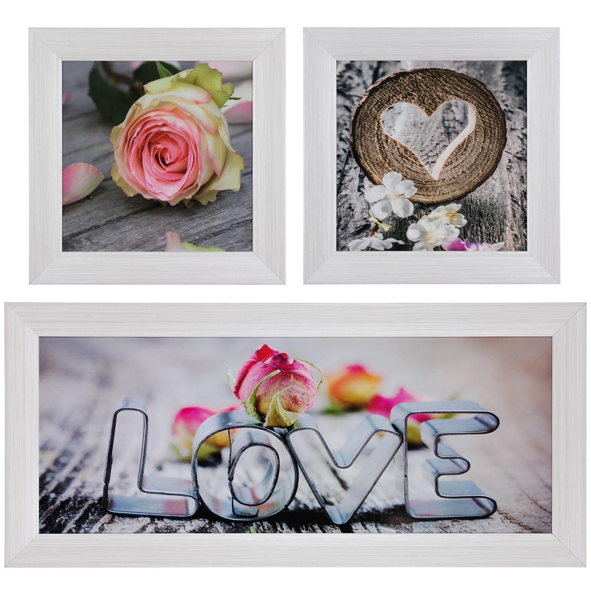 wandbild 3er set bilder gerahmt vers gr en love rosen. Black Bedroom Furniture Sets. Home Design Ideas