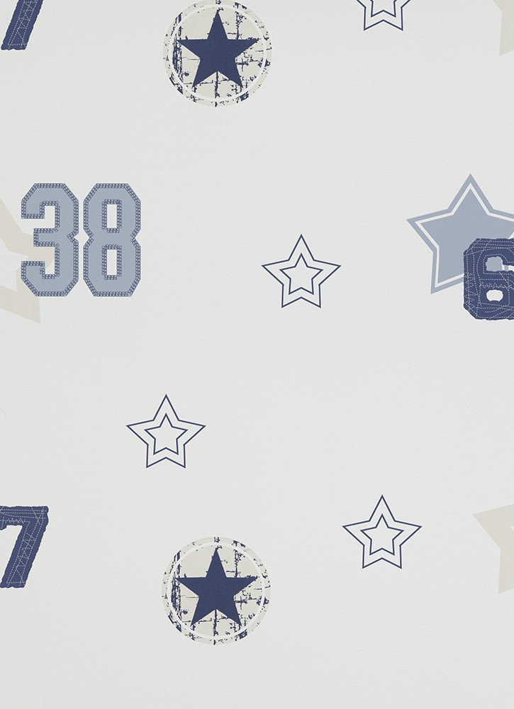 tapete sterne wei blau grau erismann funpark kindertapete 7336 08. Black Bedroom Furniture Sets. Home Design Ideas