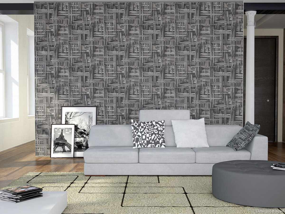 vliestapete modern grau silber tapeten p s times 42098 20. Black Bedroom Furniture Sets. Home Design Ideas