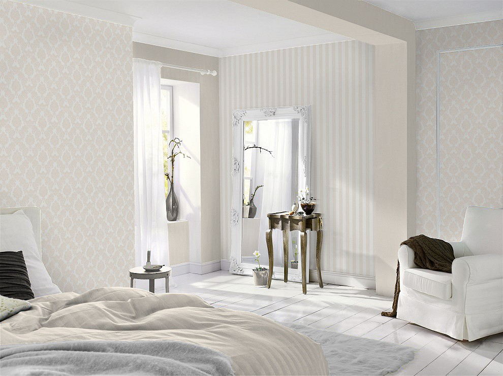 vliestapete streifen creme wei tapete rasch sophie charlotte 440218. Black Bedroom Furniture Sets. Home Design Ideas