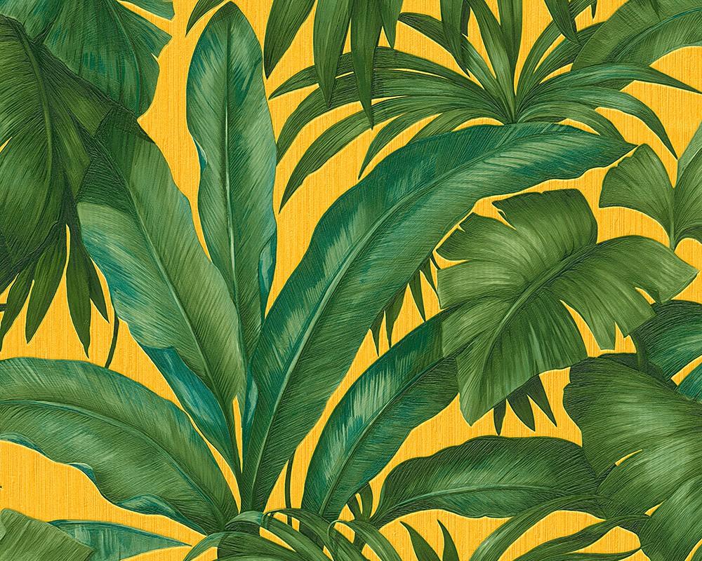 wohnzimmer grün gelb:Vliestapete Blätter grün gelb AS Creation Versace 96240-3