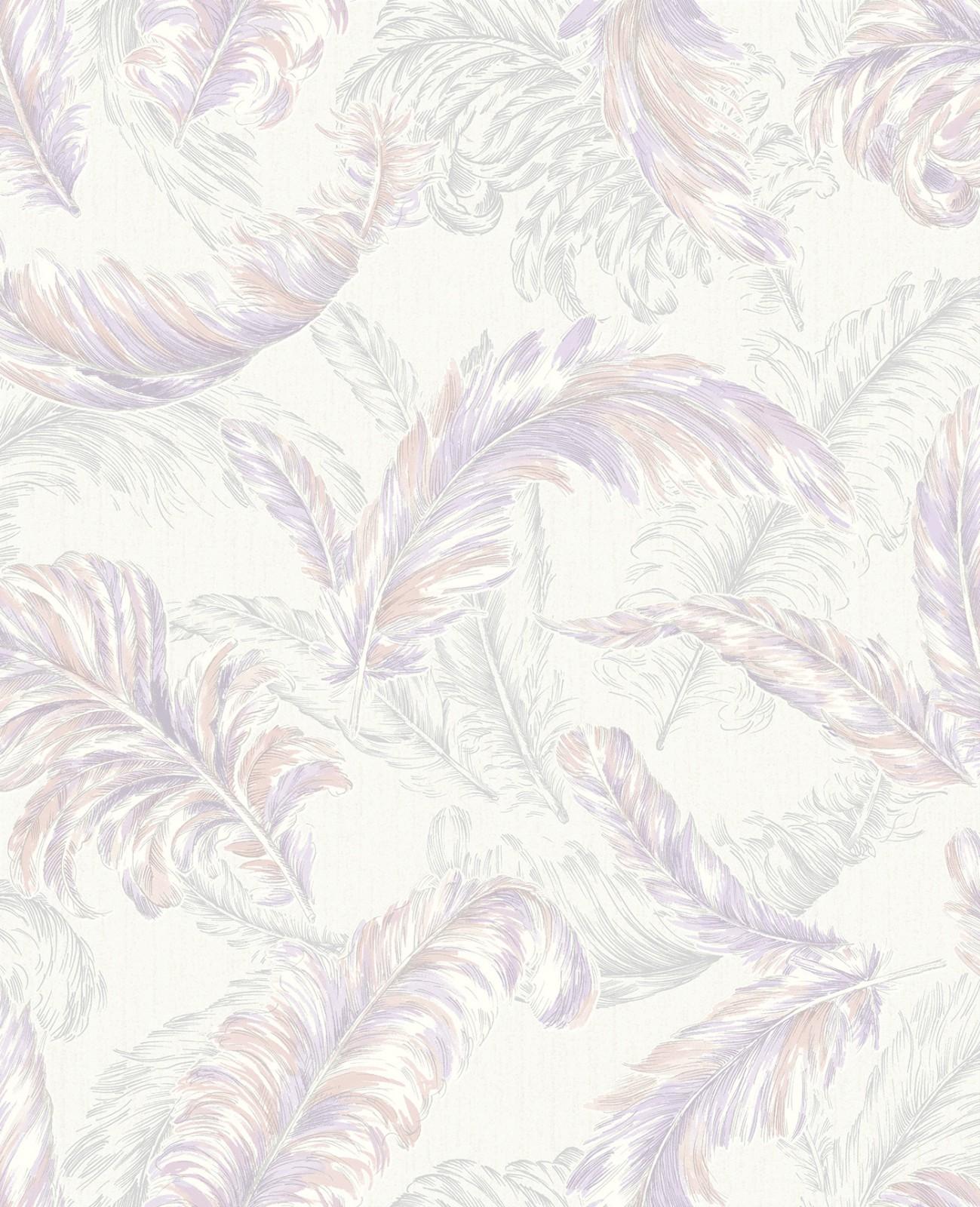Vliestapete Julien Macdonald : Vliestapete Natur Federn lila silber Graham & Brown Glitterati 32-948