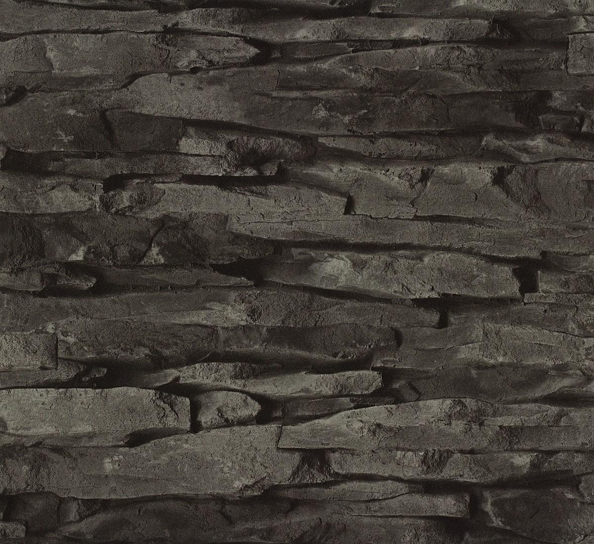 Rasch Tapeten Home Style : Vliestapete schwarz Stein Home Style Rasch 859539
