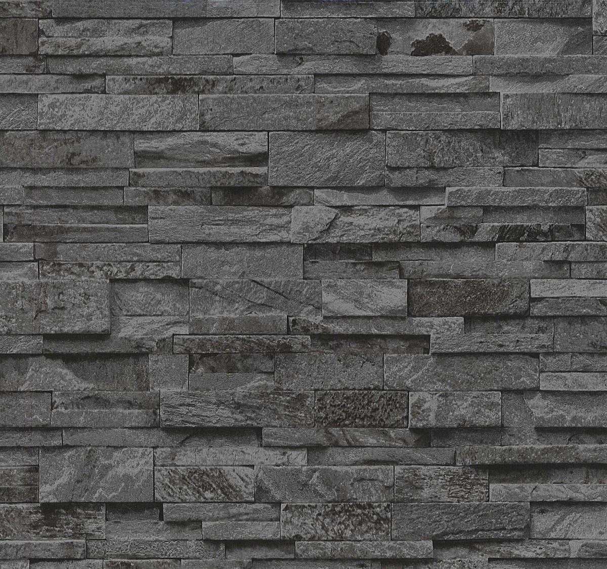 vliestapete schwarz steine mauer ps 02363 40. Black Bedroom Furniture Sets. Home Design Ideas