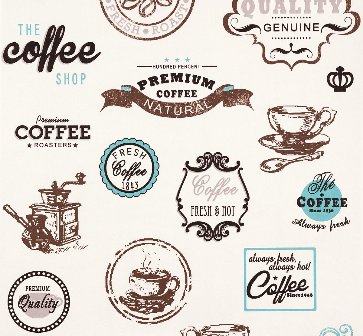 Vliestapete Cappuccino Tapeten : Vliestapete wei? K?che Coffee PS 13303-10