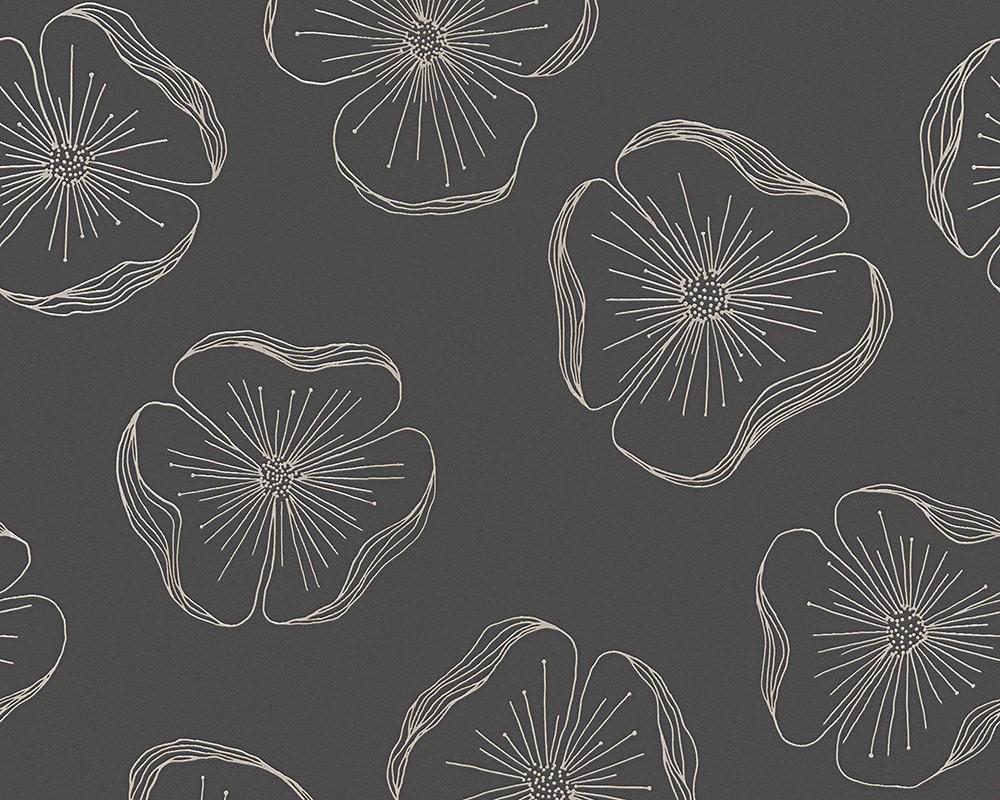 Tapete sch ner wohnen blumen schwarz silber 30406 3 for Tapete schwarz silber