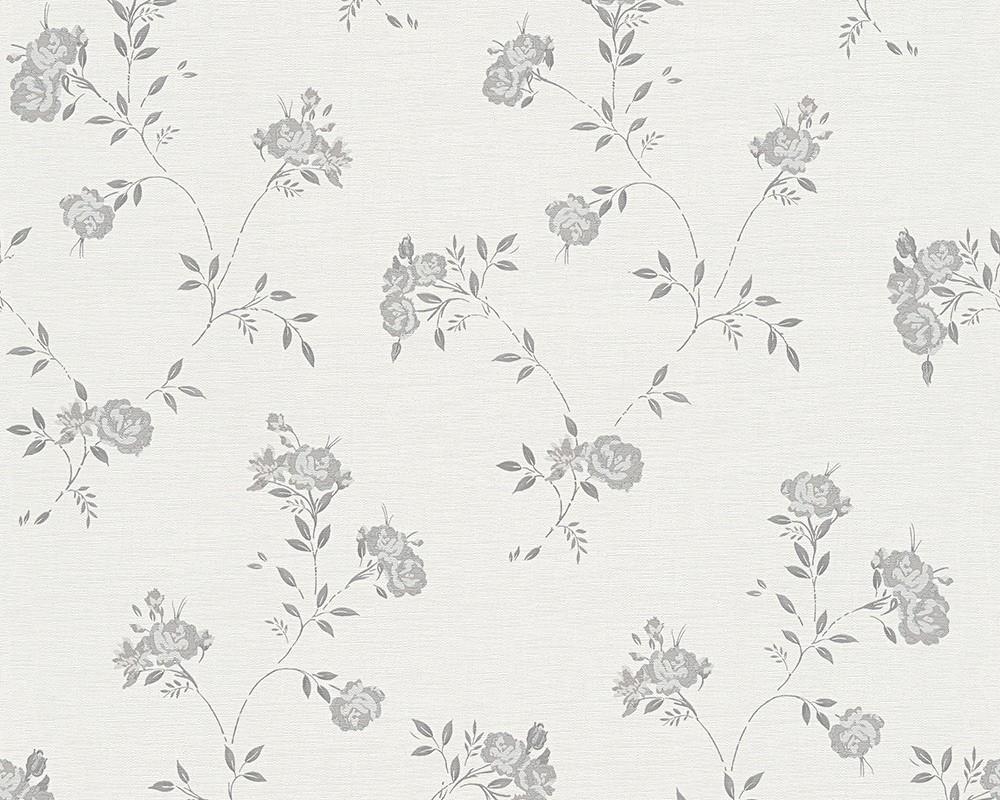 Tapete Blau Grau : Tapete creme grau Blumen AS Creation 30522-4