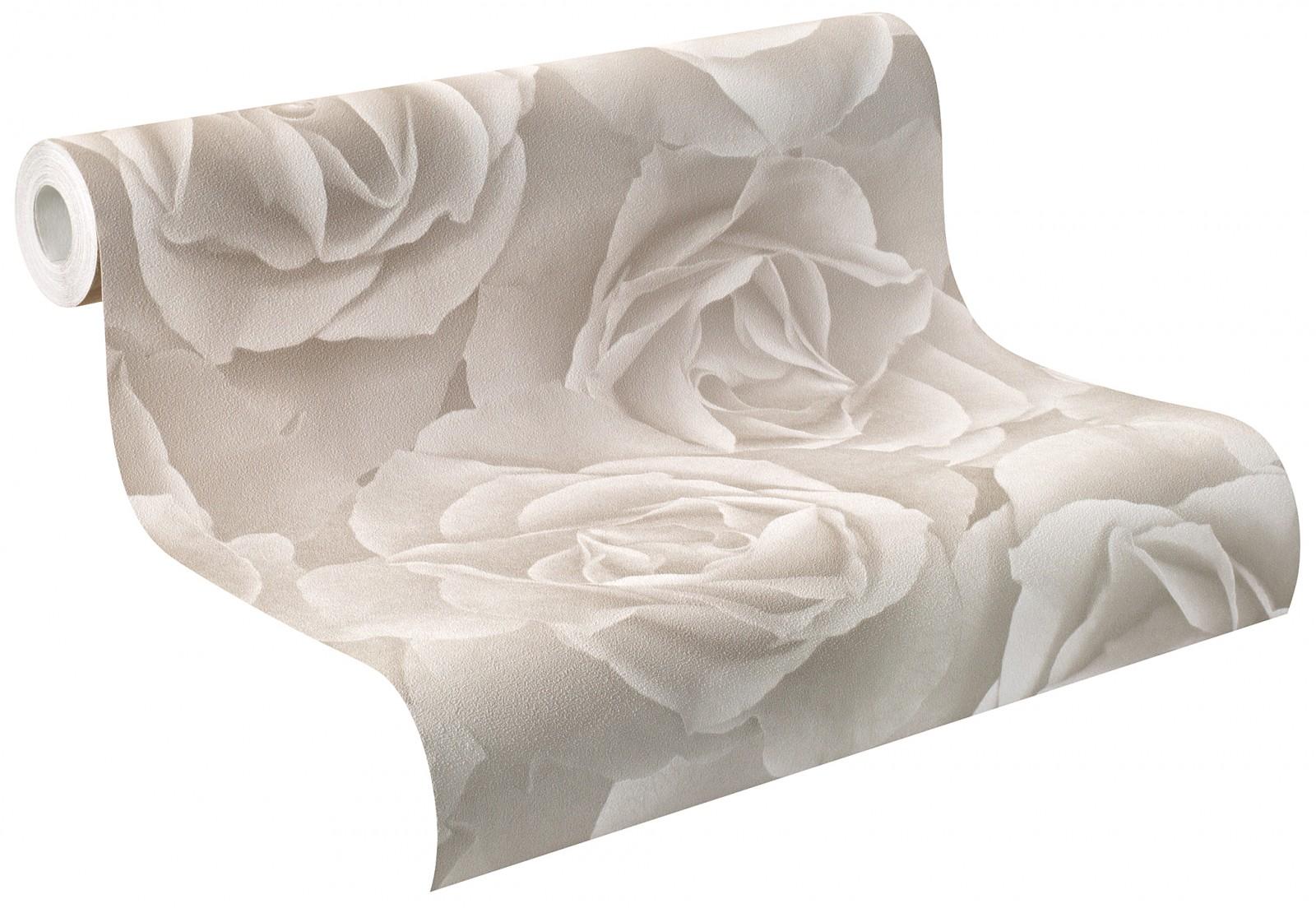 Rosé Grau Weiß: Tapete Rasch Crispy Paper Rose Grau Weiß 525601