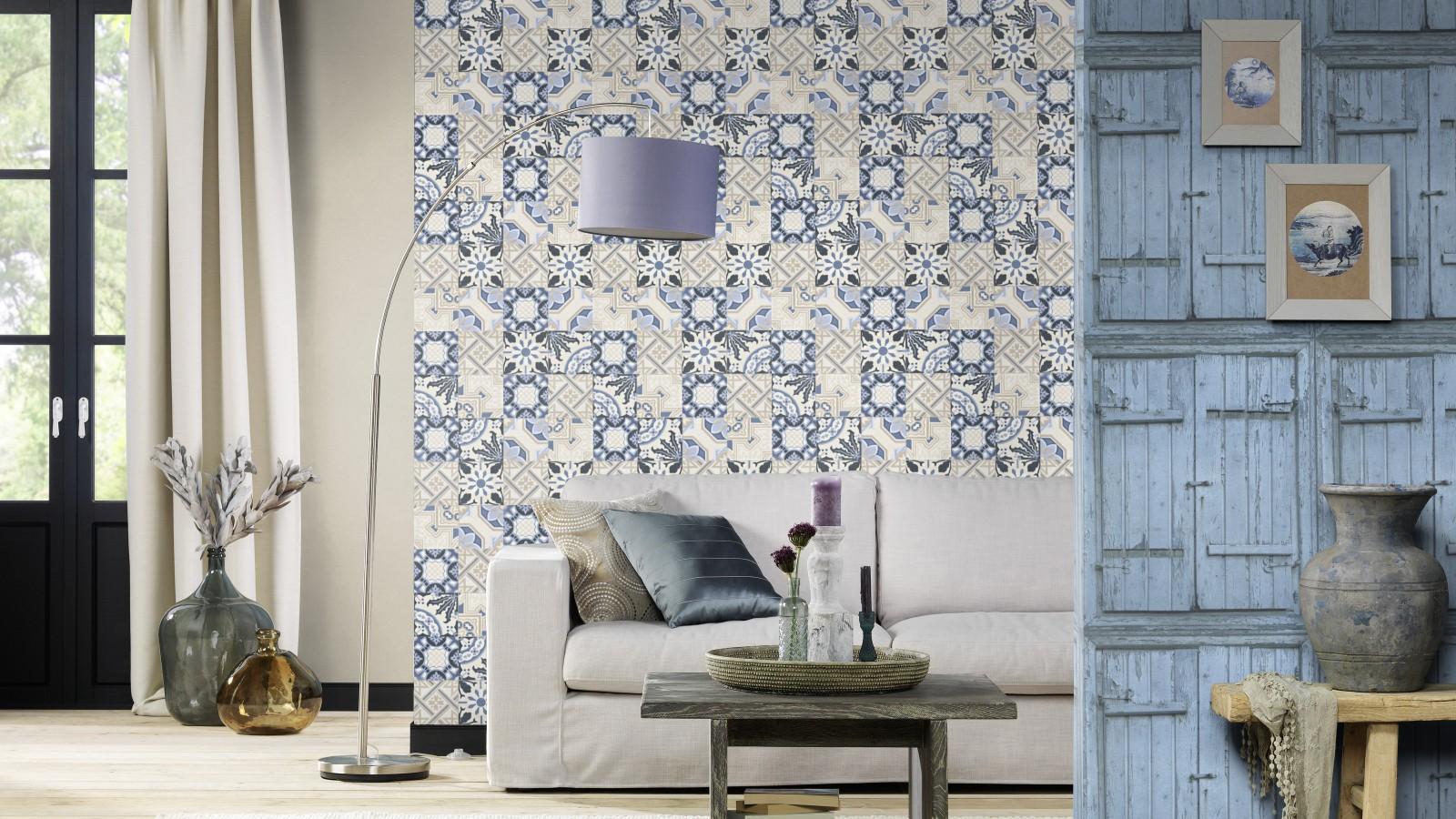 tapete rasch crispy paper fliesen blau beige 526325. Black Bedroom Furniture Sets. Home Design Ideas
