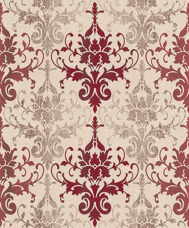 tapete barock erismann creme rot glanz 5962 06. Black Bedroom Furniture Sets. Home Design Ideas