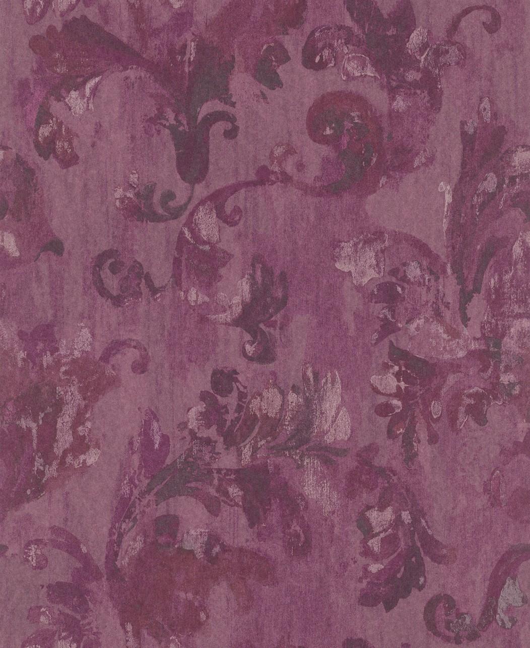 Tapete rasch textil tintura blumen lila grau 227030 for Muster tapete lila grau