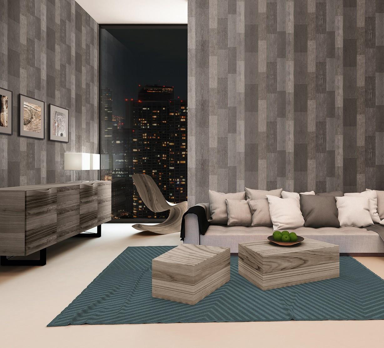 Tapete holz livingwalls titanium grau silber 30643 1 for Tapete silber grau