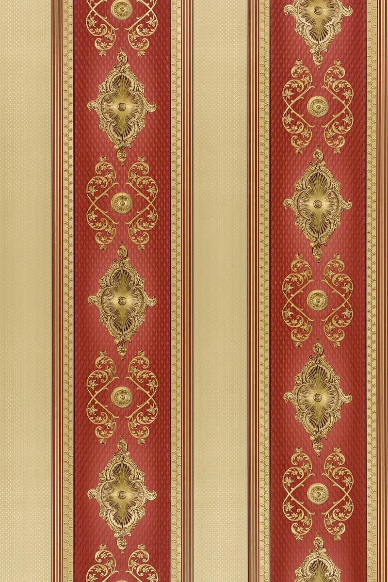 Satintapete Barock Streifen Hermitage Glanz Rot 6830 14