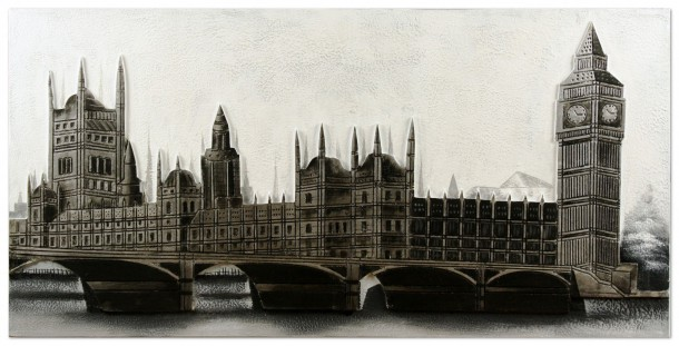 Canvas Picture oil painting hand made 60x120 art Picture London Big Ben grey online kaufen