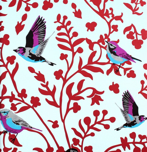 Wallpaper Rasch Vintage Chic non-woven wallpaper 321622 bird white red