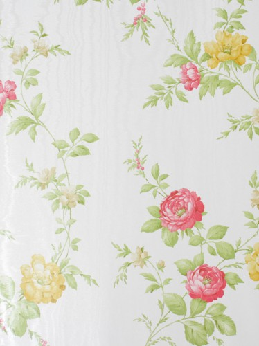 Rasch Textil satin wallpaper Country Charm 298313 rose rose yellow