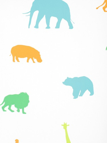 Rasch Textil non-woven wallpaper Giggle kids wallpaper 137335 Animals colorful