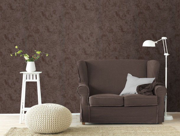 Wallpaper Rasch City Lights non-woven wallpaper 412178 plain structure dark brown  online kaufen