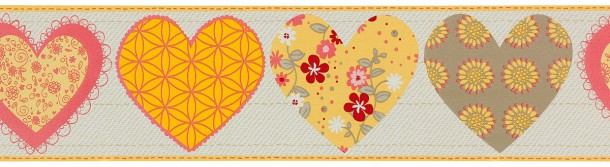 P+S kids wallpaper Happy Kids border 05582-40 558240 hearts beige yellow rose online kaufen
