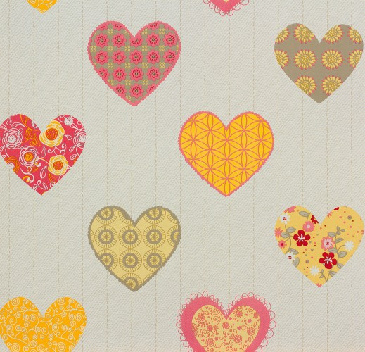 P+S kids wallpaper Happy Kids wallpaper 05583-40 558340 hearts beige yellow rose