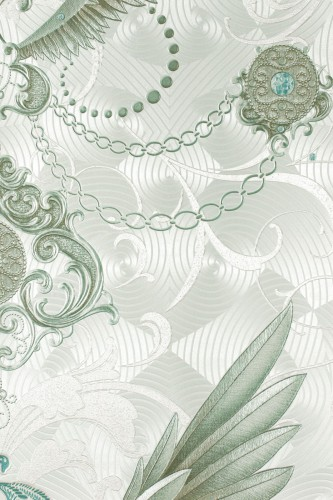 Harald Glööckler Deux non-woven wallpaper 54455 baroque feathers green online kaufen