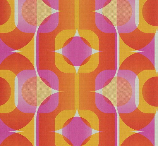 ABSOLUTE REAL RETRO wallpaper seventies wallpaper AS 95528-4 retro pink orange online kaufen
