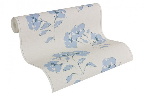 Vliestapete grau blau Blumen  AS Creation 957503 online kaufen