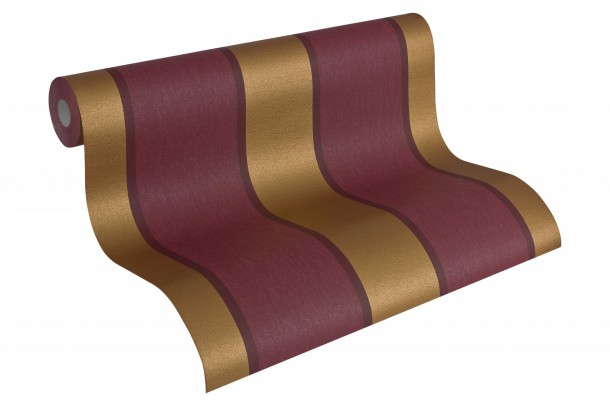 Wallpaper stripes red gold AS Fleece Royal 96186-9 online kaufen