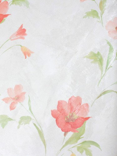 Rasch Tapeten Country Charm : Satintapete Rasch Textil Blumen wei? rot 298030