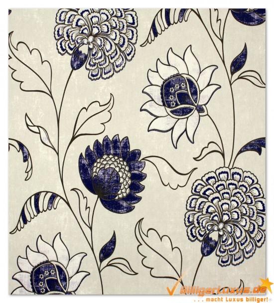 Scandinavian Vintage Tapete Marburg : Vliestapete Scandinavian Vintage Marburg 51657 blau