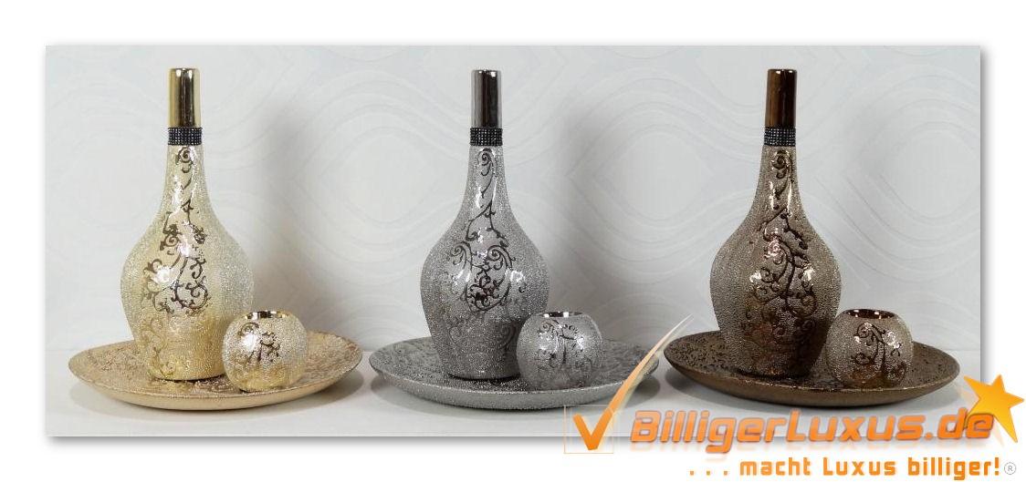 deko vasen set 3tlg dekoset vasen gold silber bronze vase geschenk idee teelicht. Black Bedroom Furniture Sets. Home Design Ideas