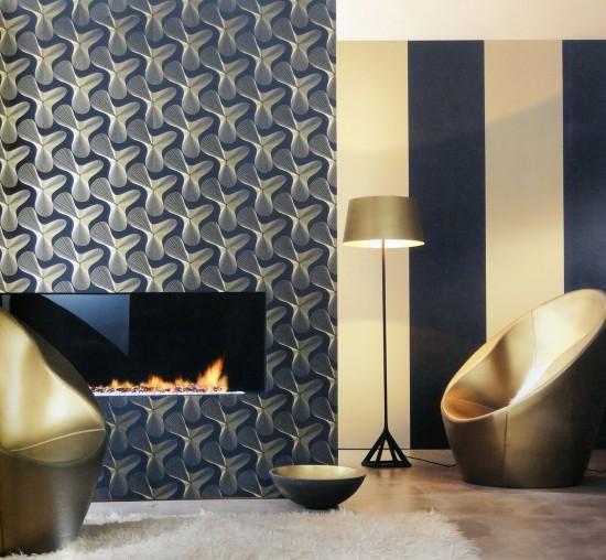 karim rashid designertapete retro 52016 schwarz gold. Black Bedroom Furniture Sets. Home Design Ideas