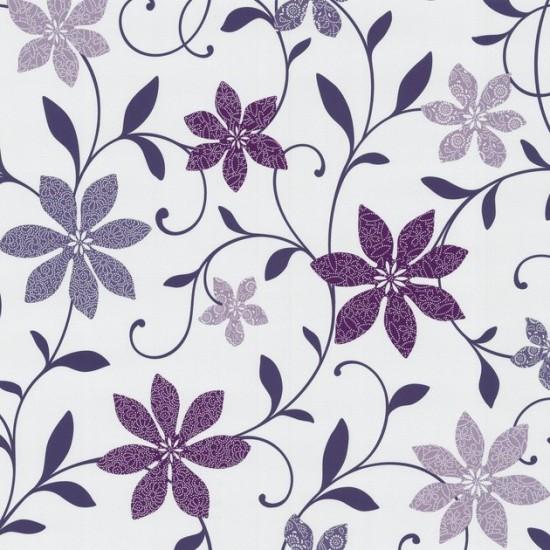 Wish tapete 05619 40 0561940 papiertapete blumen wei lila for Tapete lila muster