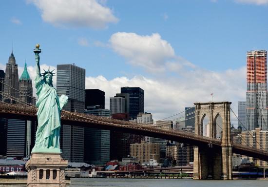 fototapete tapete new york freiheitsstatue nyc skyline foto 360 cm x 270 cm. Black Bedroom Furniture Sets. Home Design Ideas
