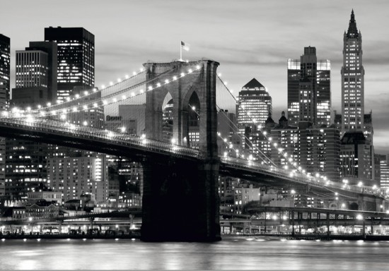 fototapete tapete brooklyn bridge schwarz wei new york foto 360 cm x 254 cm. Black Bedroom Furniture Sets. Home Design Ideas