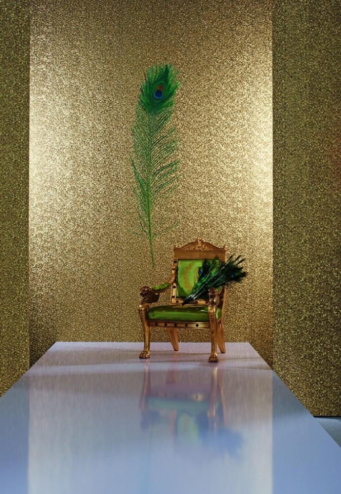 harald gl ckler tapeten gold gr n pfauenauge panel 52726 designer tapete. Black Bedroom Furniture Sets. Home Design Ideas