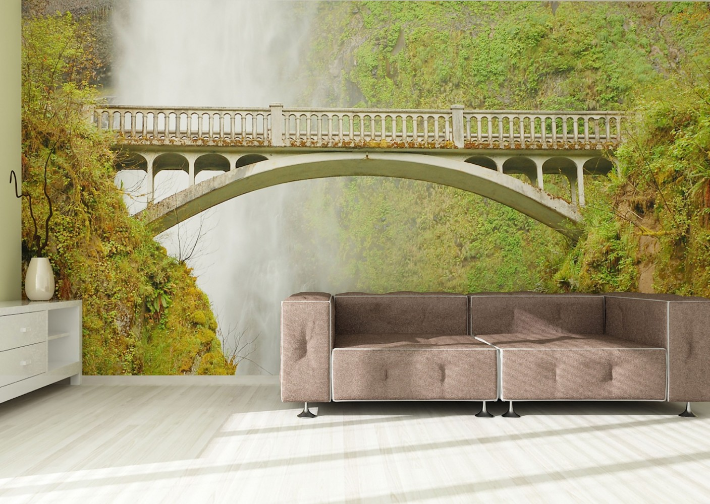 fototapete tapete natur wildniss br cke wasserfall foto 360 cm x 270 cm. Black Bedroom Furniture Sets. Home Design Ideas