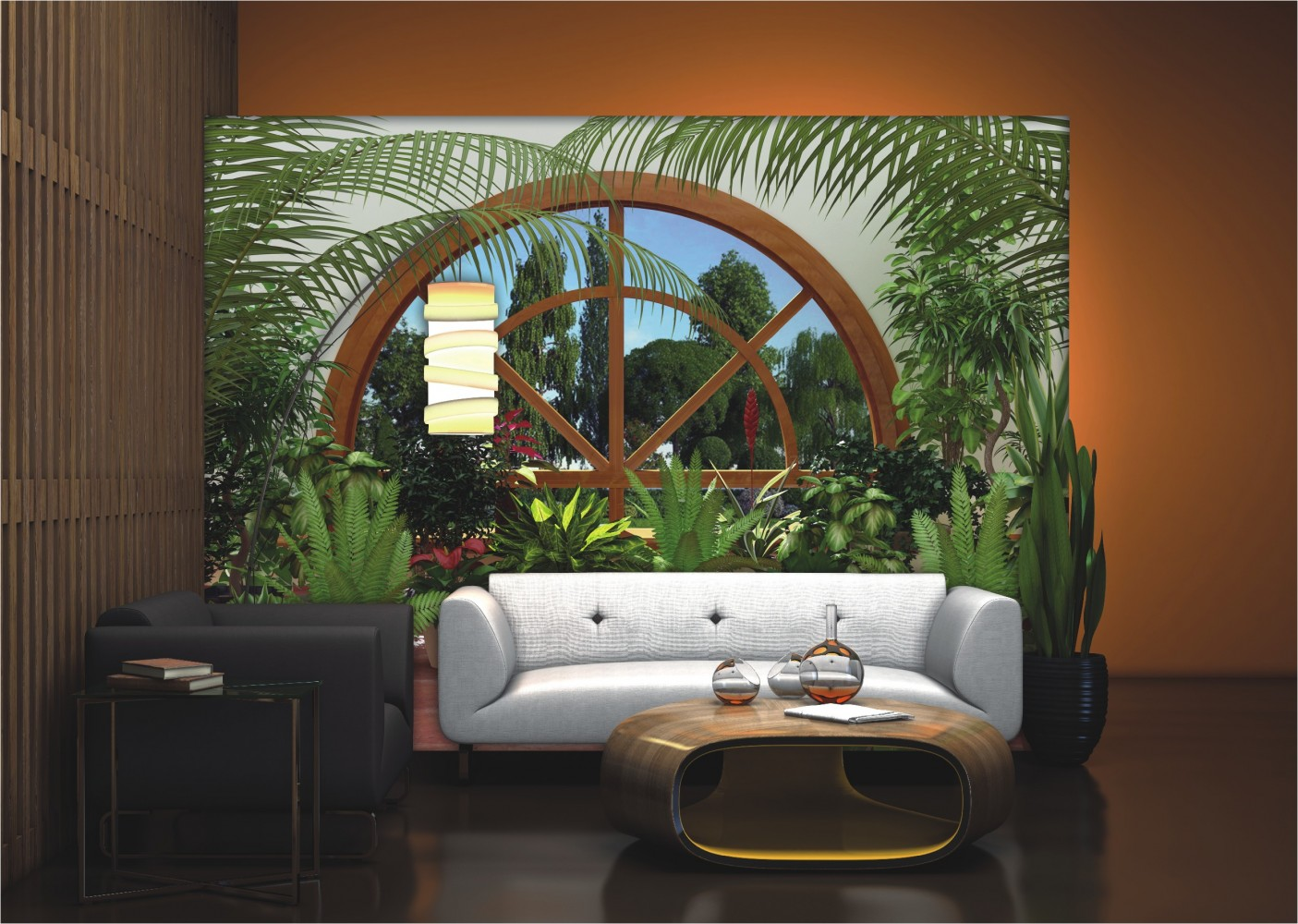 fototapete tapete natur blumen pflanzen wintergarten foto 360 cm x 254 cm gr n. Black Bedroom Furniture Sets. Home Design Ideas